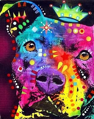 Pitty Painting - The Thoughtful Pitbull Crowned by Dean Russo