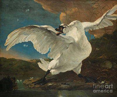 Painting - The Threatened Swan by Celestial Images