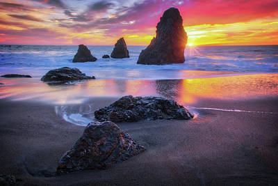 Three Amigos Photograph - The Three  Amigos - Rodeo Beach Sunset #2 by Jennifer Rondinelli Reilly - Fine Art Photography