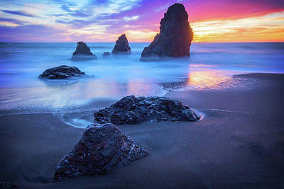 Three Amigos Photograph - The Three  Amigos - Rodeo Beach Sunset #4 by Jennifer Rondinelli Reilly - Fine Art Photography