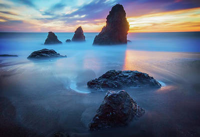 Three Amigos Photograph - The Three  Amigos - Rodeo Beach Sunset by Jennifer Rondinelli Reilly - Fine Art Photography