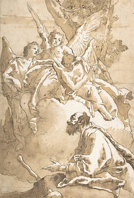 Drawing - The Three Angels Appearing To Abraham By The Oaks Of Mamre  by Giovanni Domenico Tiepolo