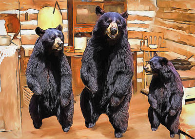Digital Art - The Three Bears by John Haldane