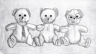 Drawing - The Three Bears by Nareeta Martin
