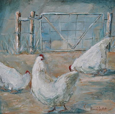 Farmanimals Painting - The Three Chickens by Kareni Bester