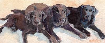 Chocolate Labrador Retriever Painting - The Three Chocolatiers by Sheila Wedegis