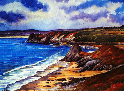 Water Colour Painting - The Three Cliffs Bay by Andrew Read