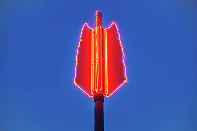 Photograph - The Three Feathers Neon Arrow - Bentonville Arts District by Gregory Ballos