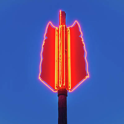 Photograph - The Three Feathers Neon Arrow - Bentonville Arts District - Square Format by Gregory Ballos