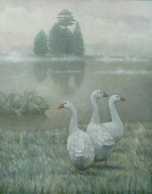 Ducks Painting - The Three Geese by Steve Mitchell