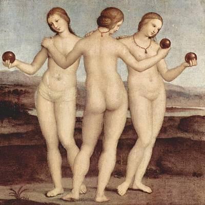 Raffaello Santi Painting - The Three Graces - 1504-05 by Raphael