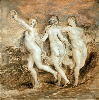 Painting - The Three Graces 3 by Peter Paul Rubens