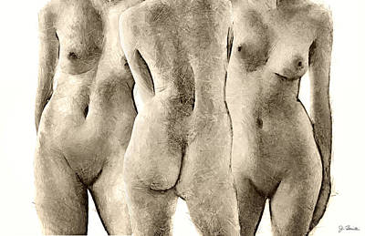 Photograph - The Three Graces After Canova by Joe Bonita