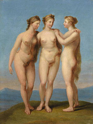 Painting - The Three Graces by Attributed to Jean-Baptiste Regnault