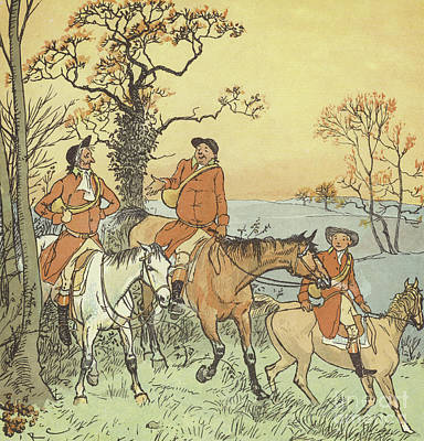 Sunset Drawing - The Three Jovial Huntsmen by Randolph Caldecott