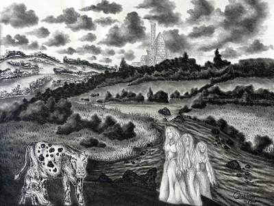Drawing - The Three Ladies  by Gabriel Cajina