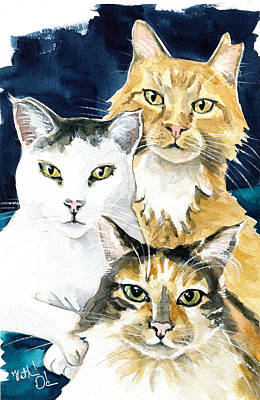Painting - The Three Musketeers - Cat Painting by Dora Hathazi Mendes