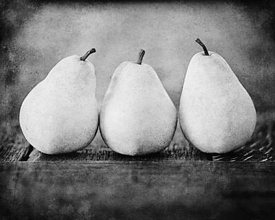Country Cottage Photograph - The Three Pears In Black And White by Lisa Russo