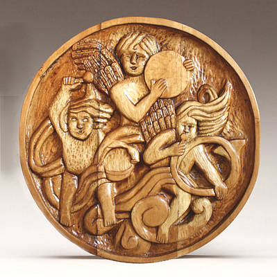 Folk Art Woodcarving Sculpture - The Three Singing Angels  by James Neill