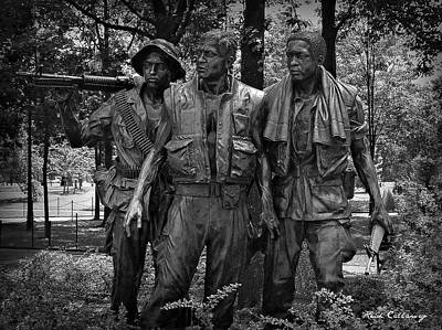 Bronze Mask Photograph - The Three Soldiers Duty Honor Country Vietnam Veterans Memorial  by Reid Callaway