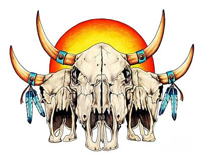Pencil Native American Drawing - The Three Spirits by Sheryl Unwin