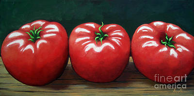 The Three Tomatoes - Realistic Still Life Food Art Art Print by Linda Apple