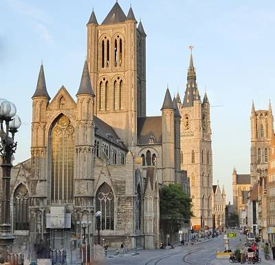The Three Towers Of Gent Art Print by Marilyn Dunlap