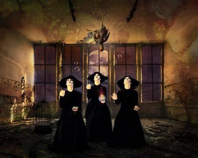 Creepy Mixed Media - The Three Witches by Terry Fleckney