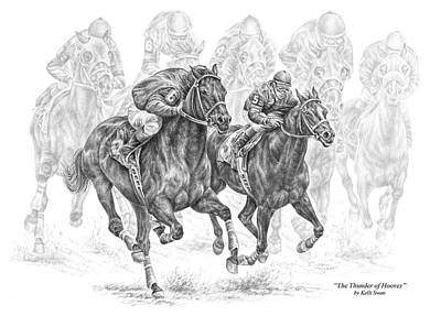 Race Horse Drawing - The Thunder Of Hooves - Horse Racing Print by Kelli Swan