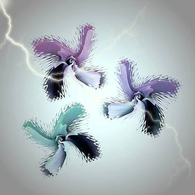 The Thunderbolt Dance Of Rose Butterflies - 3 Art Print by Jacqueline Migell