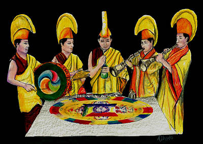 Religious Mixed Media - The Tibetan Monks At Lilydale Assembly by Albert Puskaric