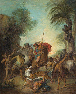 The Tiger Hunt Painting - The Tiger Hunt by Nicolas Lancret