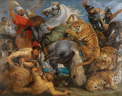 The Tiger Painting - The Tiger Hunt by Peter Paul