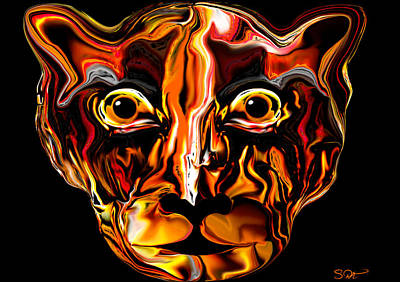 Surreal Painting - The Tigress. by Abstract Angel Artist Stephen K