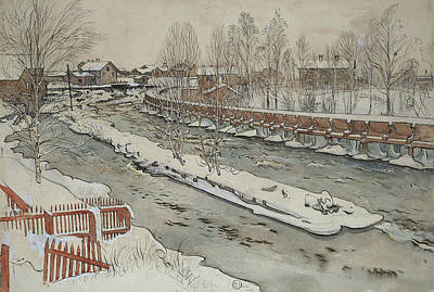 Winter Landscape Painting - The Timber Chute. Winterscene. From A Home by Carl Larsson