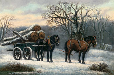Shire Horse Painting - The Timber Wagon In Winter by Anonymous