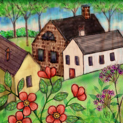 Digital Art - The Tiny Villiage by Valerie Drake Lesiak