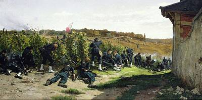 21st Painting - The Tirailleurs De La Seine At The Battle Of Rueil Malmaison by Etienne Prosper Berne-Bellecour