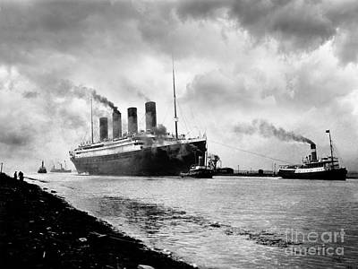 The Titanic Being Towed Art Print