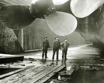 Titanic Photograph - The Titanic's Propellers In The Thompson Graving Dock In Belfast by English School