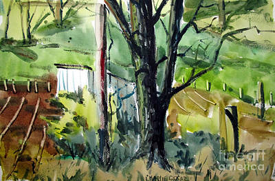 Farm Fields Painting - The Tool Shed By The Black Ash Matted Framed Glassed by Charlie Spear