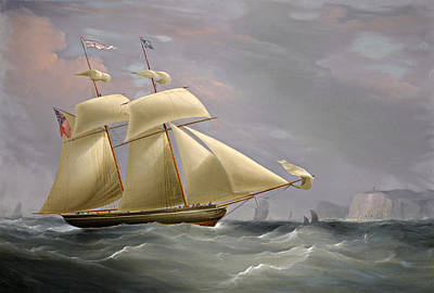 Painting - The Topsail Schooner Amy Stockdale Off Dover by William John Huggins