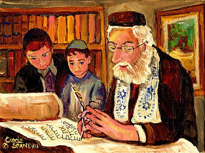 Montreal Synagogues Painting - The Torah Scribe by Carole Spandau