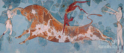 Minoan Painting - The Toreador Fresco, Knossos Palace, Crete by Greek School