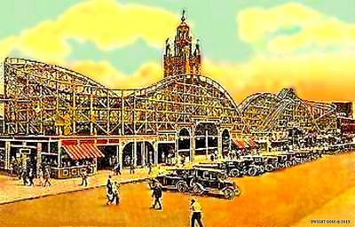 Roller Coaster Mixed Media - The Tornado, Coney Island, 1924 by Dwight GOSS