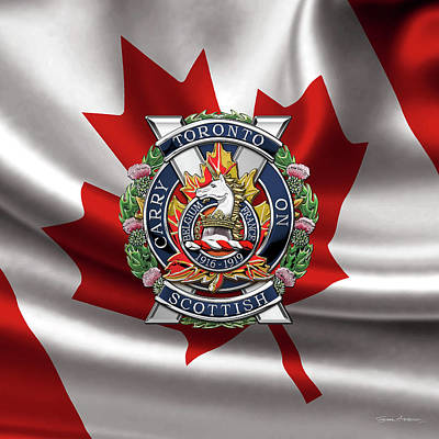 Digital Art - The Toronto Scottish Regiment - Cap Badge Over Canadian Flag by Serge Averbukh
