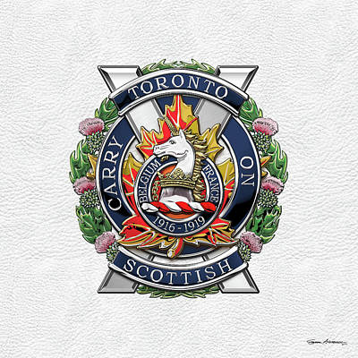 Digital Art - The Toronto Scottish Regiment - Cap Badge Over White Leather by Serge Averbukh
