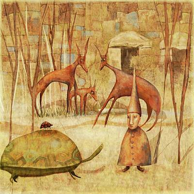 Bug Digital Art - The Tortoise And The Beetle by Catherine Swenson