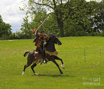 The Toss A Squire Throws A Javelin From Horseback Art Print by Louise Heusinkveld