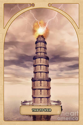 Divination Digital Art - The Tower by John Edwards